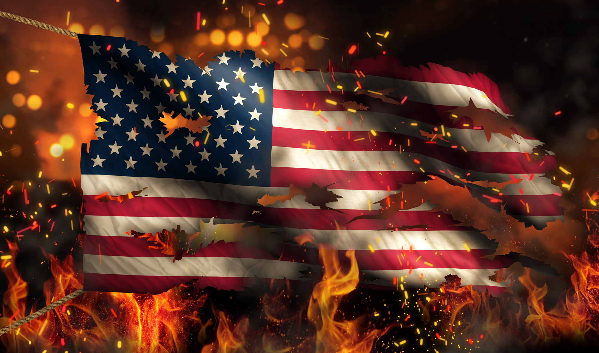 USA America Burning Fire Flag War Conflict Night