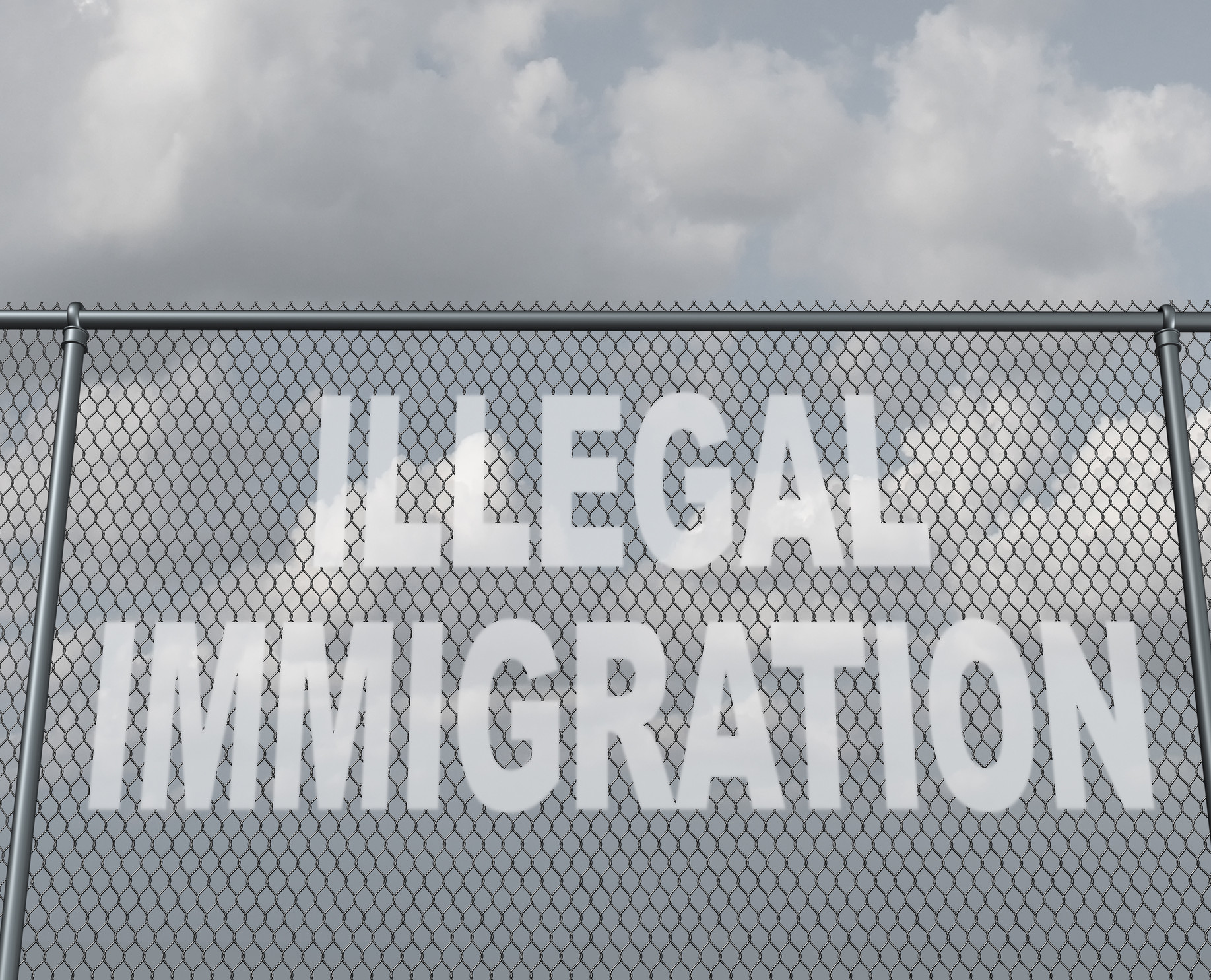 Illegal immigration concept as a chain fence with a hole shaped as text that represents people illegaly crossing a national border violating the migration law of the country as undocumented immigrants.