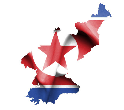 Map of North Korea with waving flag isolated on white