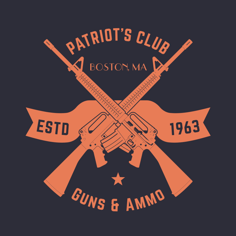 Patriots club vintage logo with crossed automatic guns, gun shop sign with assault rifles, gun store emblem, vector illustration