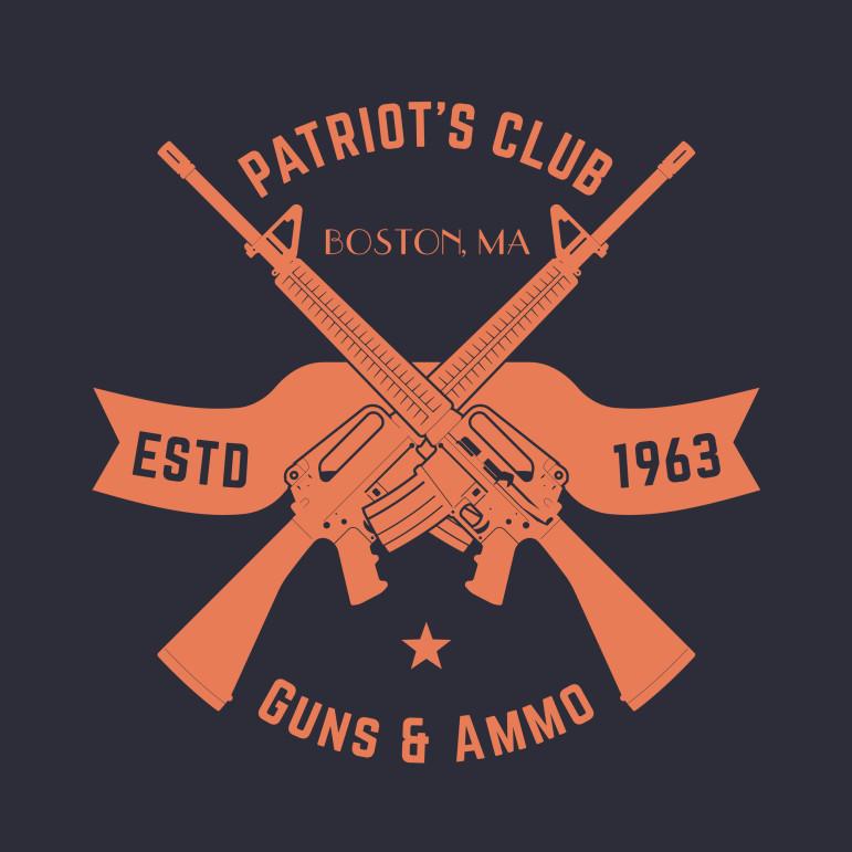 Patriots club vintage logo with crossed automatic guns, gun shop sign with assault rifles, gun store emblem, vector illustration