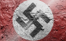 Nazi flag painted on grunge wall
